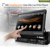 "7"" Digital Touch Screen 1 Din Car DVD Player Single Din Car Audio Detachable Panel Radio Bluetooth"