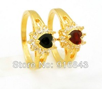 Trendy 24K gold heart zircon rings two color engagement ring wholesale