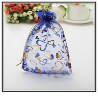 100pcs/lot Blue bronzing Drawable Organza Wedding Gift Bags&Pouches 11cmx16cm Free Shipping