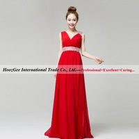2014 New Arrival In Stock Hot Selling Red Color V Neck Diamond Concise Party Dress Straight Chiffon Prom Dress HoozGee 23793