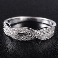 Brand Jewelry Women's 925 Silver Filled Cross White Sapphire Crystal Stone Wedding Ring