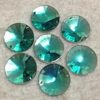 16MM 500PCS/LOT Emerald Color No42 Superior Acrylic Sew On Round Rivoli Shape Flat Back Stone