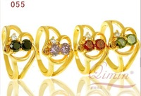 2014 High quality fashion jewelry design four-color gold-plated Zircon Ring