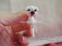 2014 New 6pcs Women's DIY Polymer clay silver Earrings Jewelry white Handmade ladies'cartoon dog 925 sterling stud earring gift