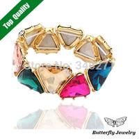Fashion Elegant Multicolor Triangle Crystal Stretch Bracelet Statement Elastic Bracelets Bangles For Women