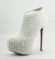 14cm or 16CM high heel women's high-end custom handmade boots white wedding Shoes pearls decoration