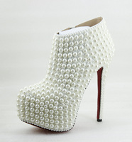 14cm or 16CM high heel women's high-end custom handmade boots white wedding Shoes pearls decoration