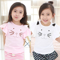 Free Shipping Girls Summer Cute Cat Tees Short Sleeved Flower Sleeves Tshirts  K2411