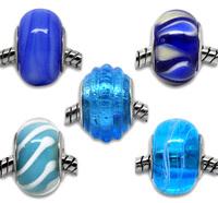 20 Mixed Blue Lampwork Glass Beads Fit Charm Bracelet 13x9mm-15x10mm