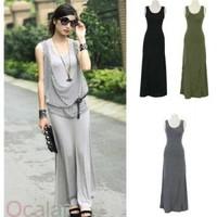 2014  !Women O- Neck Long Maxi Slim  Dress Vest Solid Casual Summer long black dress  Free Shipping  E0716-20#M1