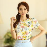 Korean New Fashion Female Flower Printing Chiffon Blouses Summer Plus Size Short Sleeve Slim Cute Shirt 6339