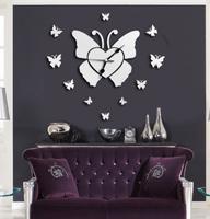 1set/lot free shipping Modern Creative Quartz Acrylic Simple Big DIY Butterfly Mirror Wall Clock Europe style home decoration