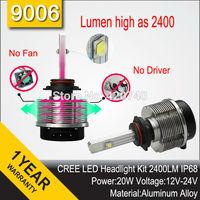 2014 HOT 20W CREE XML LED Headlight Headlamp Auto Autocar Conversion Car Kit 9006 2400LM 12V 24V Aluminum Alloy IP68 6000K