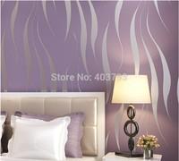 Modern Minimalist Striped Wallpaper Roll Glitter Flocking For Wall paper TV Sofa freeshippment purple yellow gray white color