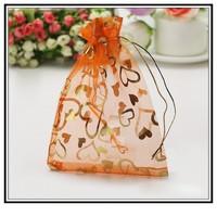 Fashion Desgin Wholesale Lot 100pcs 13x18cm Orange Wedding Gift Jewelry Bag Pouches Bag 001