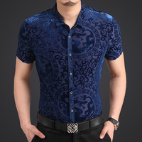 The new summer 2014 men's shirt men Korean Slim gold velvet high velvet shirt short-sleeved shirt