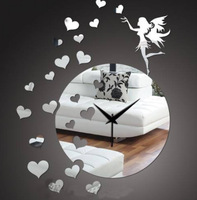 1sets/lot free shipping Baby room living room real three-dimensional mirror wall stickers clock love peach fairy decoration