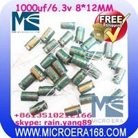 100pcs/lot computer motherboard display capacitance 6.3V/1000UF 8*12mm