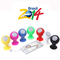 2014 Brazil World Cup Football HIFI Wired Stereo Portable Mini Speaker with Silicone Sucker Holder for Mobile phone MID PC MP3