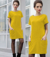 New Summer Euramerican style M-4XL size spring yellow dress 6 color freeshipping
