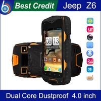 "Free shipping! Jeep Z6 Waterproof 4.0"" IP68 Screen 3G Cellphone MTK6572 Dual Core 1.2GHZ 4GB 5MP Dustproof Shockproof/Kate"