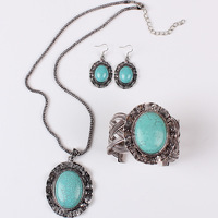 2014 New Arrival Fashion Retro Oval Turquoise Tibetan Silver Necklace with Earrings Bracelet Jewelry Sets For Woman JN477