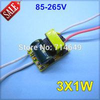5pcs/lot, 85-265V input 3X1W led inside driver, 3W high power led driver, E27 GU10 E14 B22 lamp driver, 3*1w power driver