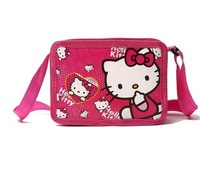 (10 Pcs/Lot) Lovely Nylon Love Heart Hello Kitty Cartoon Children Baby Gilr's Messenger Bags,Mini Size 17*12*4CM
