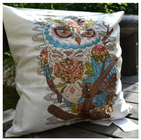 lsj001,45*45 cm,American Vintage Sequin Embroidery Owl sofa cushions home decor pillowcase
