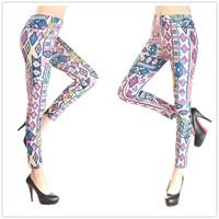 P341  New 2014 Vintage Geometry Colorful Pattern Print Fashion Women's Leggings Skinny Pants Spring Autumn