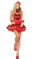Vintage Cigarette Girl Costumes 2014 Adult Ladies Western Stylish Fantasies Theme Party Fancy Dress Up Full Outfit Set in Red M