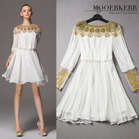2014 spring and summer women's European and American style gold thread embroidery hand-beaded dress