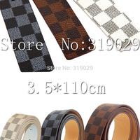 2014 New Women Brand belt Faux Pu leather Shape Men Strap Belt Plaid Letters Metal buckle Plaid Belt With Box