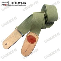 Free shipping army green canvas folk Leather Head electric guitar, electric bass, Guitar Strap, Guitar Suspender