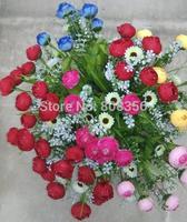 """6Pcs 28cm/11.02"""" Length Five Colors Artificial Flowers Simulation Raindrops Tea Rose Camellia Seven Stems Home Decoration"""