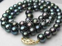 """18""""  genuine AAA 9-10mm Black TAHITIAN Pearl Necklace 14K"""