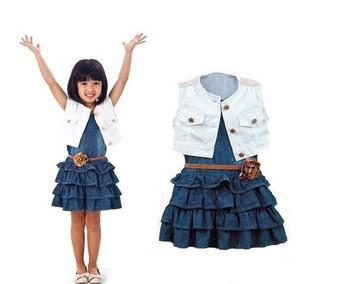 Новинка летняя одежда для девочек синее джинсовое платье + куртка + ремень летняя ...
