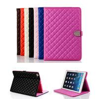 For iPad Mini iPad Mini2 Luxury Plaid Rhinestone Buckle Leather Case Fashion Foldable Stand Smart Book Cover for iPad Mini Mini2