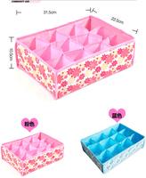 2015 HOT SALES 31*23*11cm Folding 12 Grid Storage Box for Bra,underwear,socks & Blue,Pink