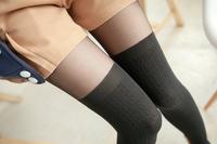 P352  New 2014 Spring Fashion Women's Pantyhose Sexy Velvet Stockings Hemp flowers Patchwork High Thigh Skinny Tights