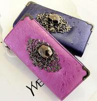 punk rock hollow out skull zipper long style fashion PU women wallets bag women leather female wallet free shipping
