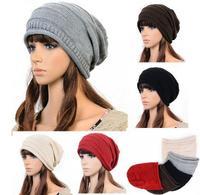 Hot Winter Unisex Winter Plicate Baggy Beanie Knit Crochet Ski Hat Oversized Beanie Hat Slouch Caps Free Shipping # L03047