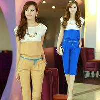 2014 summer women's set fashionable casual female chiffon shirt top twinset taoku capris
