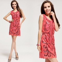 New 2014 paillette embroidery watermelon red cocktail dresses casual dress  women summer dresses free shipping