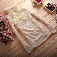 Free shipping women's vintage royal lace long-sleeve shirt stand collar slim bow shirt basic shirt female