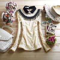 Free shipping cutout crochet women's basic shirt elegant turn-down collar puff sleeve lace shirt top