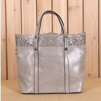 new 2014 cowhide women messenger bag  vintage genuine leather Handbags  cutout carved shopping bag big bag  shoulder bag