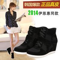 Ash color block decoration elevator shoes high-top fashion genuine leather lacing women's velcro shoes flat single shoes