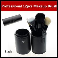 Hot Sale! Professional Black 12pcs 12 pcs Makeup Brush Cosmetic Brushes Set & Kits Make up Tools W/ PU Cylinder Case,Freeship