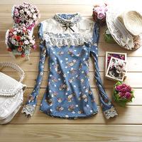 Free shipping women's sweet rustic long-sleeve chiffon shirt patchwork lace print top